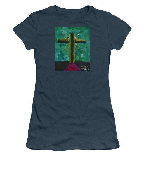Women's T-Shirt (Junior Cut) featuring the painting The Old Rugged Cross by Donna Brown