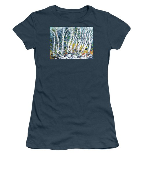 Women's T-Shirt (Junior Cut) featuring the painting Birches Pond by AmaS Art
