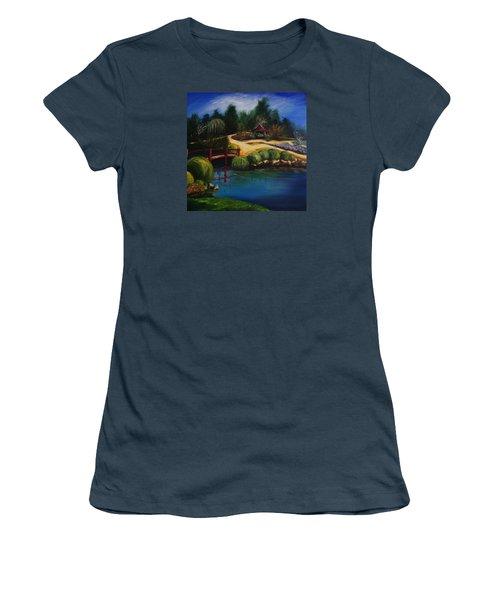 Japanese Gardens - Original Sold Women's T-Shirt (Junior Cut) by Therese Alcorn