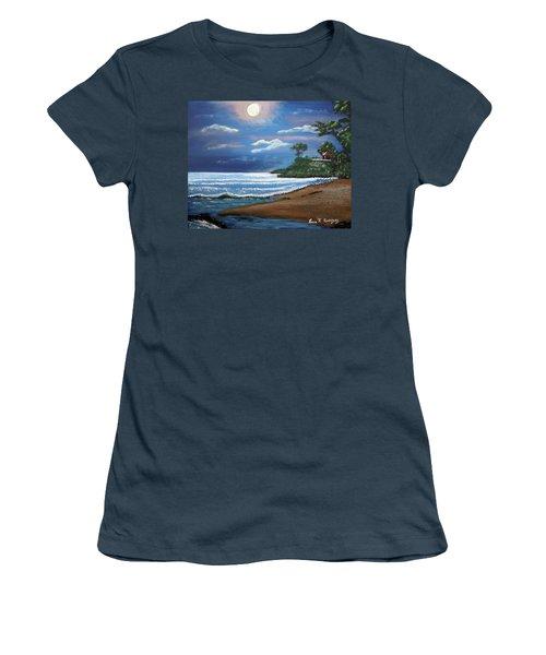 Moonlight In Rincon II Women's T-Shirt (Junior Cut) by Luis F Rodriguez