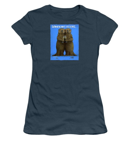 Women's T-Shirt (Junior Cut) featuring the painting Significant Otters... by Will Bullas