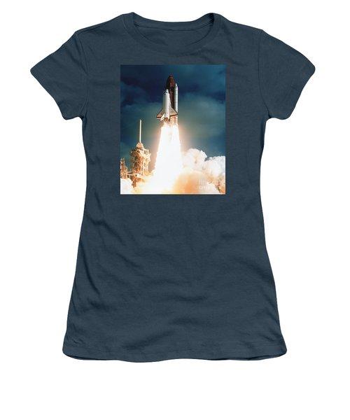 Space Shuttle Launch Women's T-Shirt (Junior Cut) by NASA Science Source