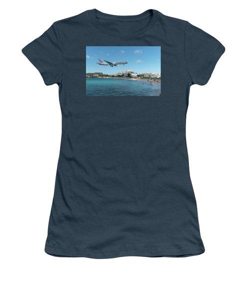 American Airlines Landing At St. Maarten Women's T-Shirt (Junior Cut) by David Gleeson