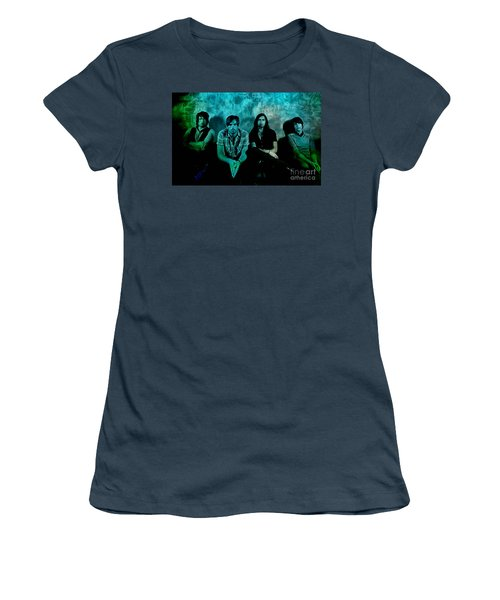 Women's T-Shirt (Junior Cut) featuring the mixed media Kings Of Leon by Marvin Blaine