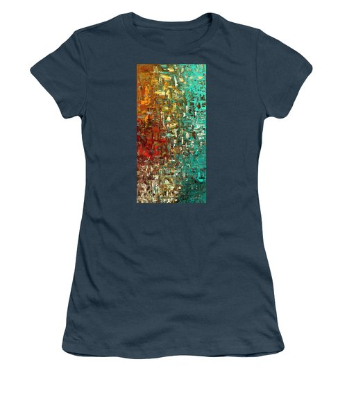 Women's T-Shirt (Junior Cut) featuring the painting A Moment In Time - Abstract Art by Carmen Guedez