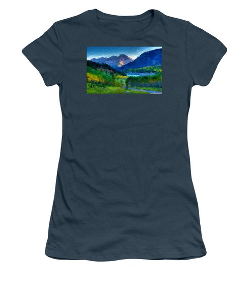 Abstract Mountain Vista  Women's T-Shirt (Junior Cut) by Anthony Fishburne