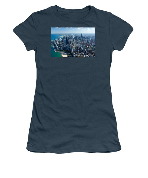 Aerial View Of A City, Lake Michigan Women's T-Shirt (Junior Cut) by Panoramic Images