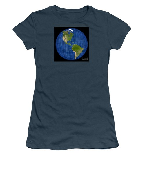 Americas On A Globe The Western Hemisphere Women's T-Shirt (Junior Cut) by Wernher Krutein