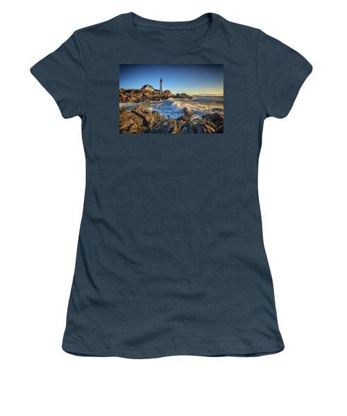 April Morning At Portland Head Women's T-Shirt (Junior Cut) by Rick Berk