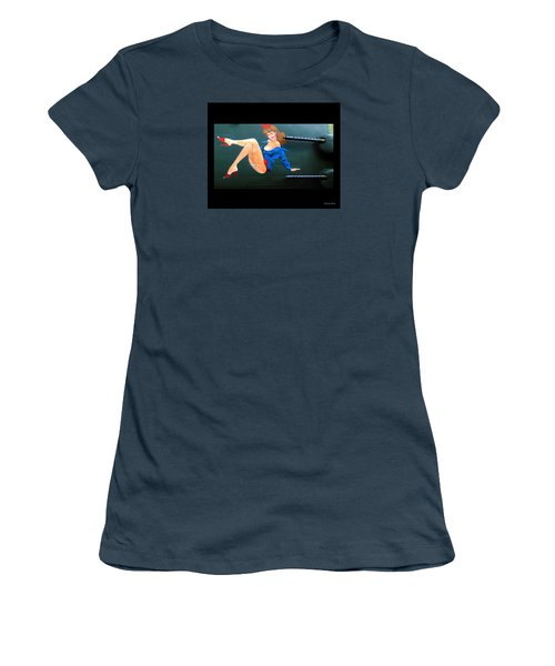 Women's T-Shirt (Junior Cut) featuring the photograph Babe On Wwii Bomber The Show Me by Kathy Barney