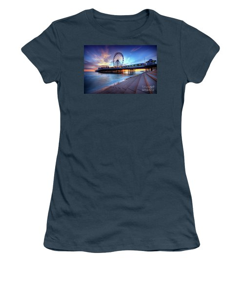 Women's T-Shirt (Junior Cut) featuring the photograph Blackpool Pier Sunset by Yhun Suarez