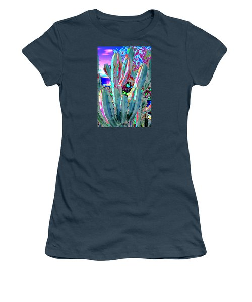 Women's T-Shirt (Junior Cut) featuring the photograph Blue Flame Cactus Abstract by M Diane Bonaparte