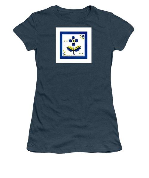 Blue Flower Illustration Women's T-Shirt (Junior Cut) by Bonnie Bruno