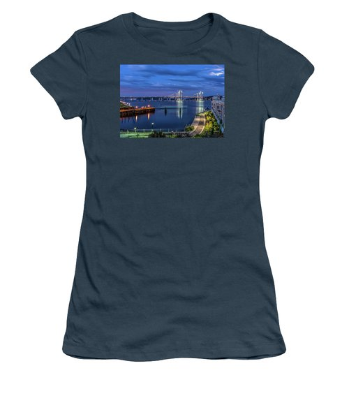 Blue Hour Over The Hudson Women's T-Shirt (Junior Cut) by Jeffrey Friedkin