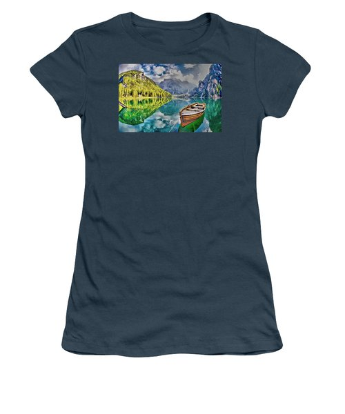 Boat On The Lake Women's T-Shirt (Junior Cut)