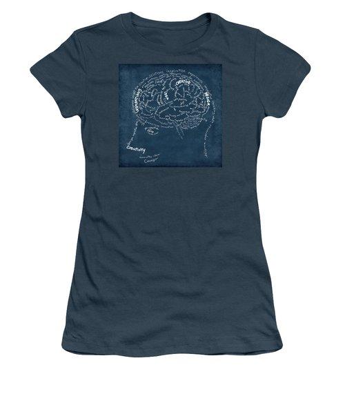 Brain Drawing On Chalkboard Women's T-Shirt (Junior Cut) by Setsiri Silapasuwanchai