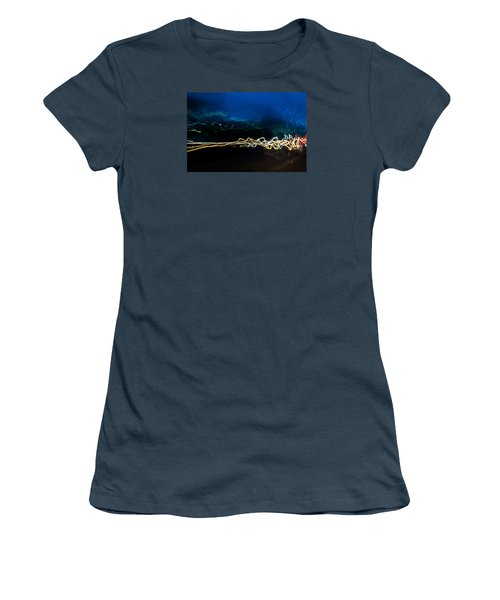 Car Light Trails At Dusk In City Women's T-Shirt (Junior Cut) by John Williams