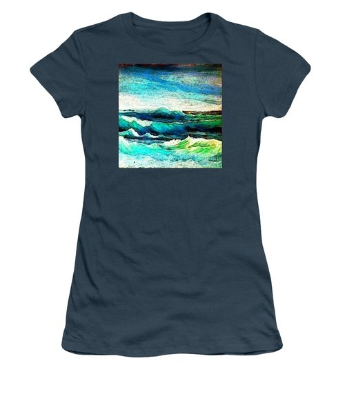 Women's T-Shirt (Junior Cut) featuring the painting Caribbean Waves by Holly Martinson