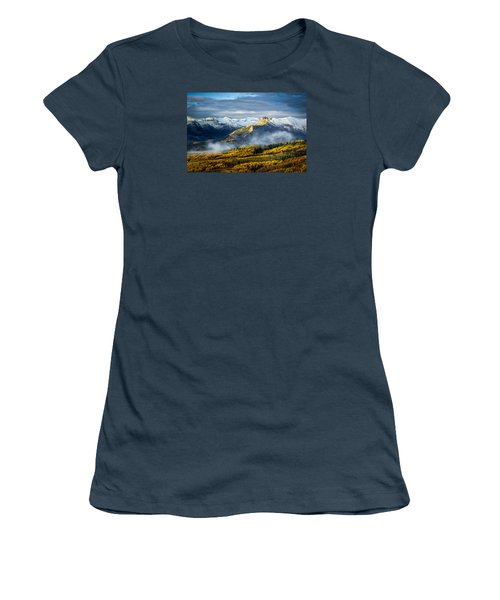 Women's T-Shirt (Junior Cut) featuring the photograph Castle In The Clouds by Phyllis Peterson