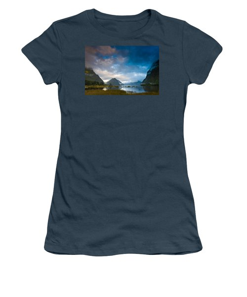 Cloudy Morning At Milford Sound At Sunrise Women's T-Shirt (Junior Cut) by Ulrich Schade