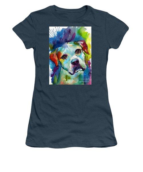 Colorful American Bulldog Dog Women's T-Shirt (Junior Cut) by Svetlana Novikova