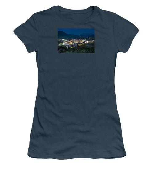 Crested Butte Village Under Full Moon Women's T-Shirt (Junior Cut) by Michael J Bauer