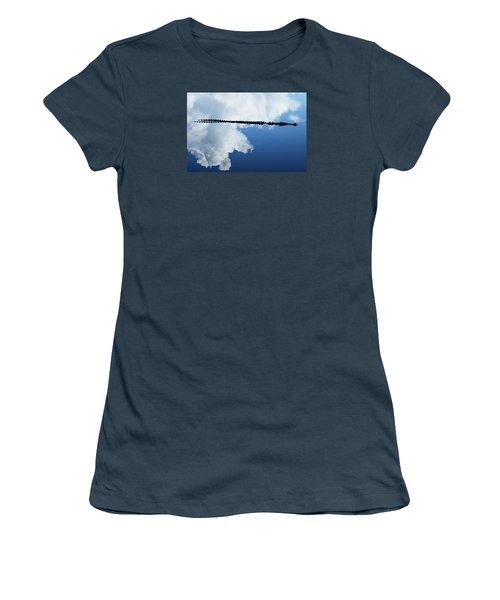 Women's T-Shirt (Junior Cut) featuring the photograph Dangerous Reflection Saltwater Crocodile by Gary Crockett