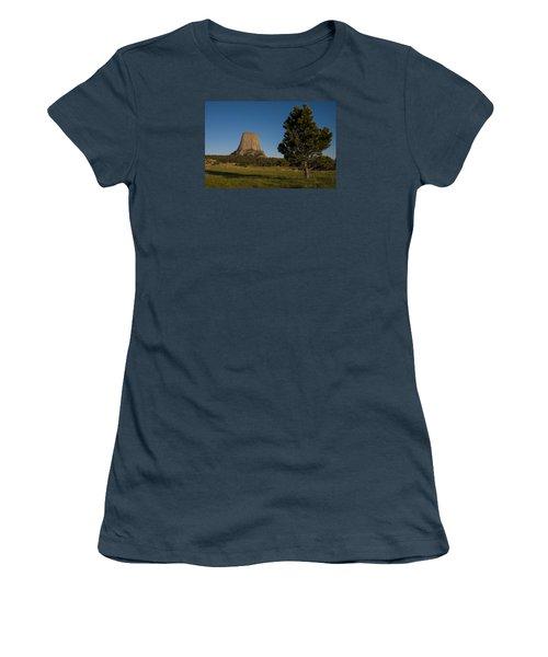 Women's T-Shirt (Junior Cut) featuring the photograph Devil's Tower by Gary Lengyel