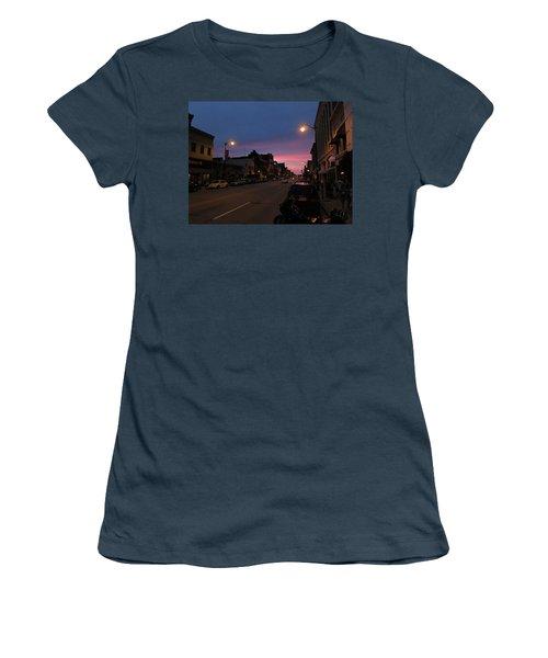 Women's T-Shirt (Junior Cut) featuring the photograph Downtown Racine At Dusk by Mark Czerniec
