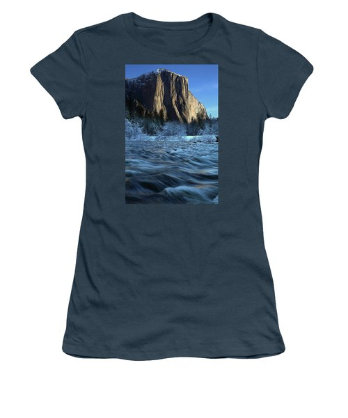 Women's T-Shirt (Junior Cut) featuring the photograph Early Morning Light On El Capitan During Winter At Yosemite National Park by Jetson Nguyen