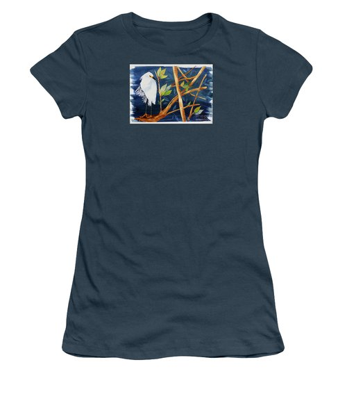 Women's T-Shirt (Junior Cut) featuring the painting Egret In The Mangroves  by Terri Mills