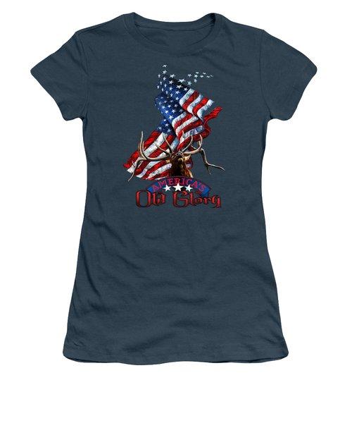 Elk Old Glory Women's T-Shirt (Junior Cut) by Rob Corsetti