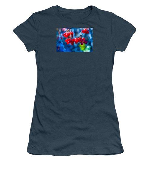 Women's T-Shirt (Junior Cut) featuring the photograph European Cranberry Berries by Alexander Senin
