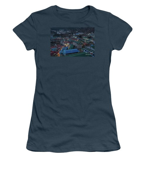 Women's T-Shirt (Junior Cut) featuring the photograph Evening In Namche Nepal by Mike Reid