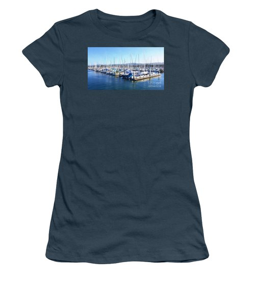 Women's T-Shirt (Junior Cut) featuring the photograph Fisherman's Wharf Monterey by Gina Savage