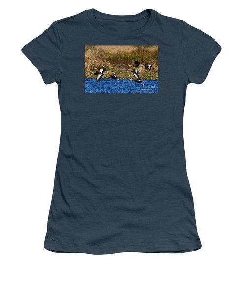 Flight Of The Whistlers Women's T-Shirt (Junior Cut) by Myrna Bradshaw