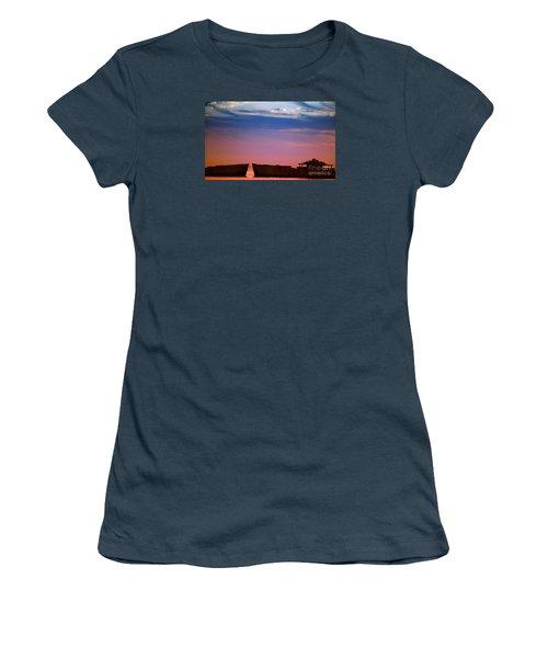Floating On Orange Women's T-Shirt (Junior Cut) by Rebecca Davis