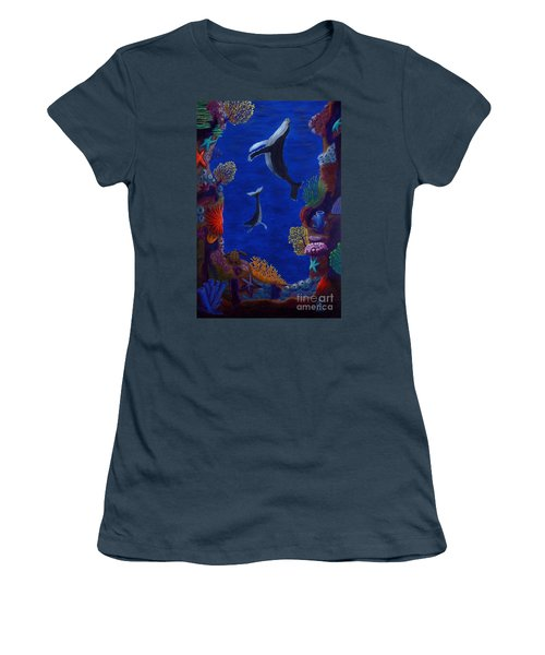 Floating Whales Women's T-Shirt (Junior Cut) by Rebecca Parker
