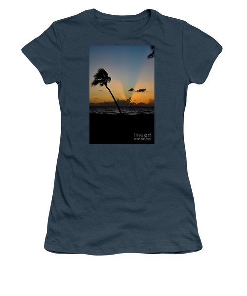 Women's T-Shirt (Junior Cut) featuring the photograph Florida Sunrise Palm by Kelly Wade