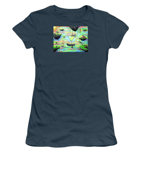 Women's T-Shirt (Junior Cut) featuring the painting Flying Islands by Viktor Lazarev
