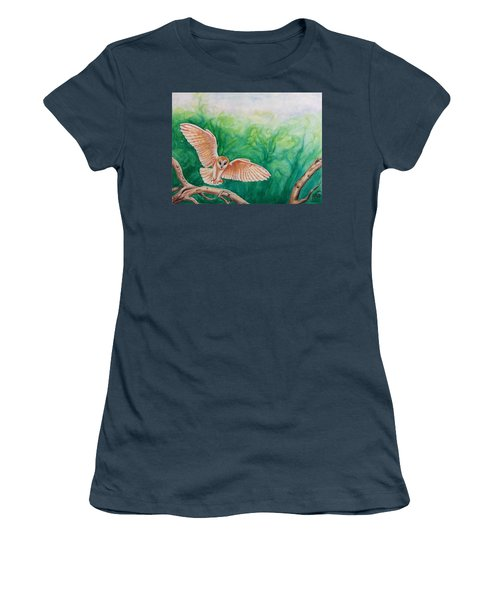 Flying Owl Women's T-Shirt (Junior Cut) by Steed Edwards