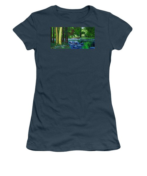 Women's T-Shirt (Junior Cut) featuring the painting Forest Stream by Michael Frank