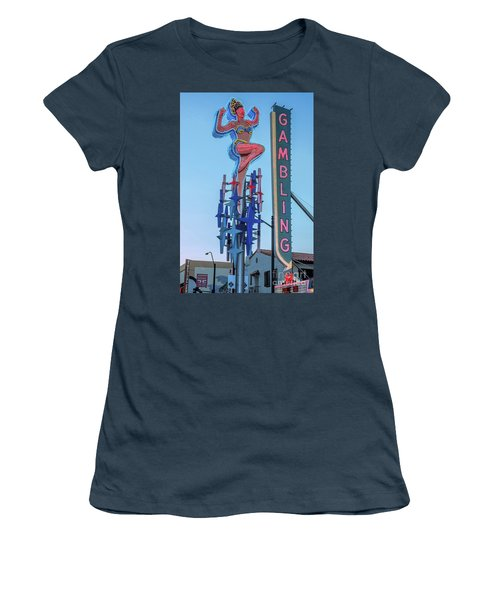 Fremont Street Lucky Lady And Gambling Neon Signs Women's T-Shirt (Junior Cut) by Aloha Art