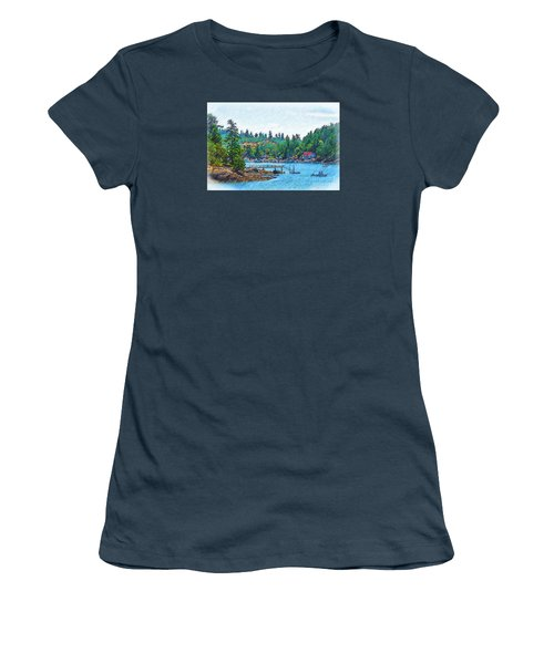 Friday Harbor Sketched Women's T-Shirt (Junior Cut) by Kirt Tisdale