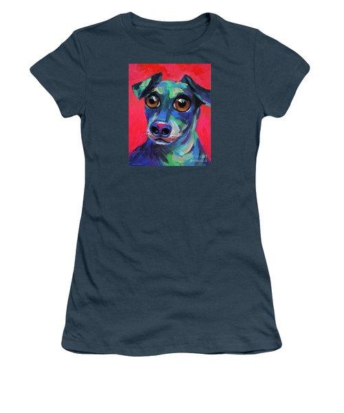 Funny Dachshund Weiner Dog With Intense Eyes Women's T-Shirt (Junior Cut) by Svetlana Novikova