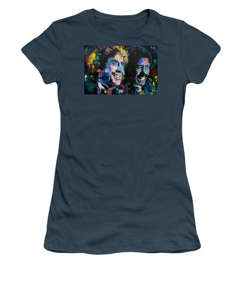 Women's T-Shirt (Junior Cut) featuring the painting Gene Wilder And Richard Pryor by Richard Day