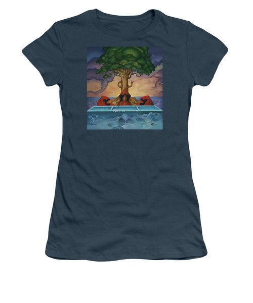 Women's T-Shirt (Junior Cut) featuring the painting Global Warming And The Ridiculousness Of Discussing The Next Ice Age by Andrew Batcheller