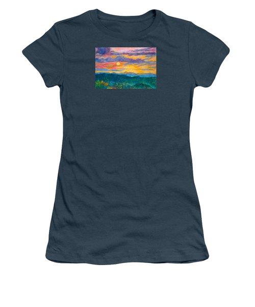 Women's T-Shirt (Junior Cut) featuring the painting Golden Blue Ridge Sunset by Kendall Kessler