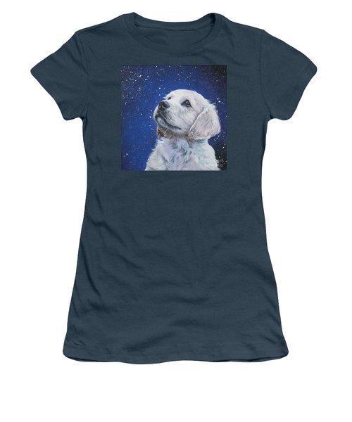 Golden Retriever Pup In Snow Women's T-Shirt (Junior Cut) by Lee Ann Shepard