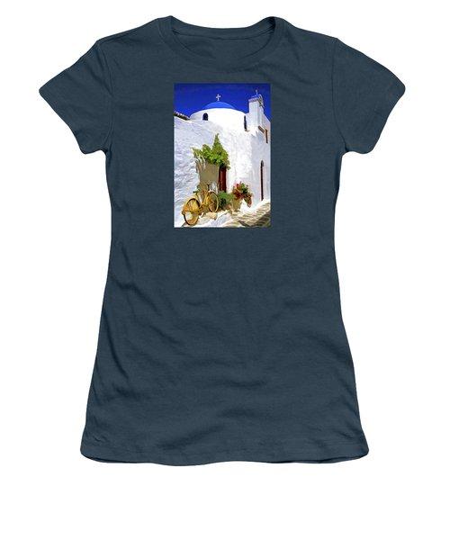 Women's T-Shirt (Junior Cut) featuring the photograph Greek Church With Bike by Dennis Cox WorldViews